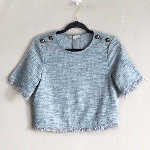 Nwt Zara Tweed Fringe Trim Cropped Top small j3